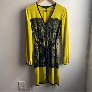 BCBGMaxAzria Azra neon Lemongrass lace print dress